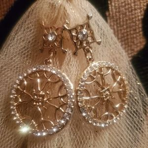 Goldtone Snowflake Earrings w/Sparkle Accents